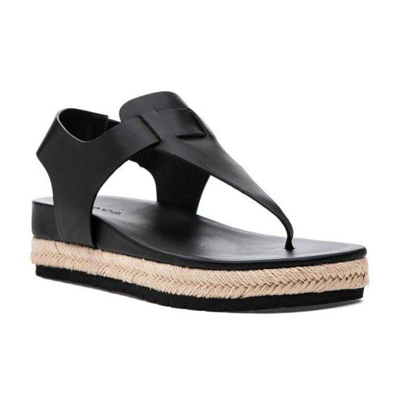 Vince Flint Leather Platform Espadrille Sandals